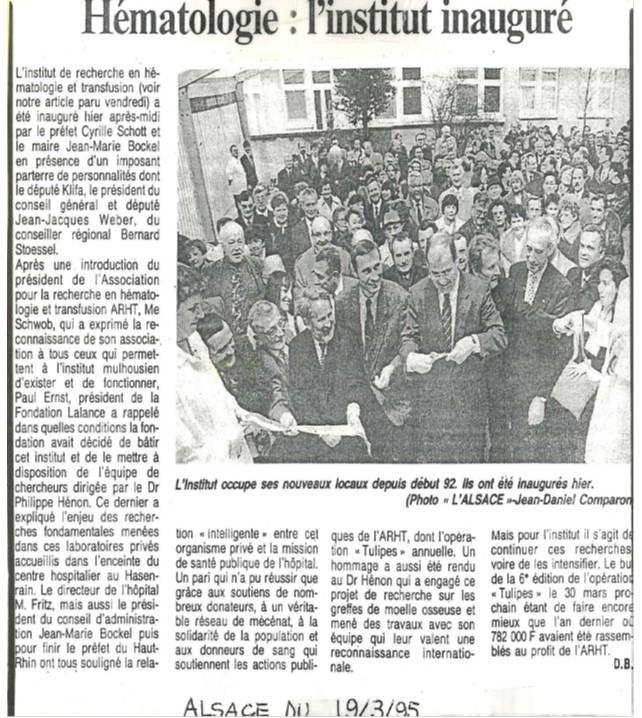 L'institut inauguré - Article du 19 mars 1995